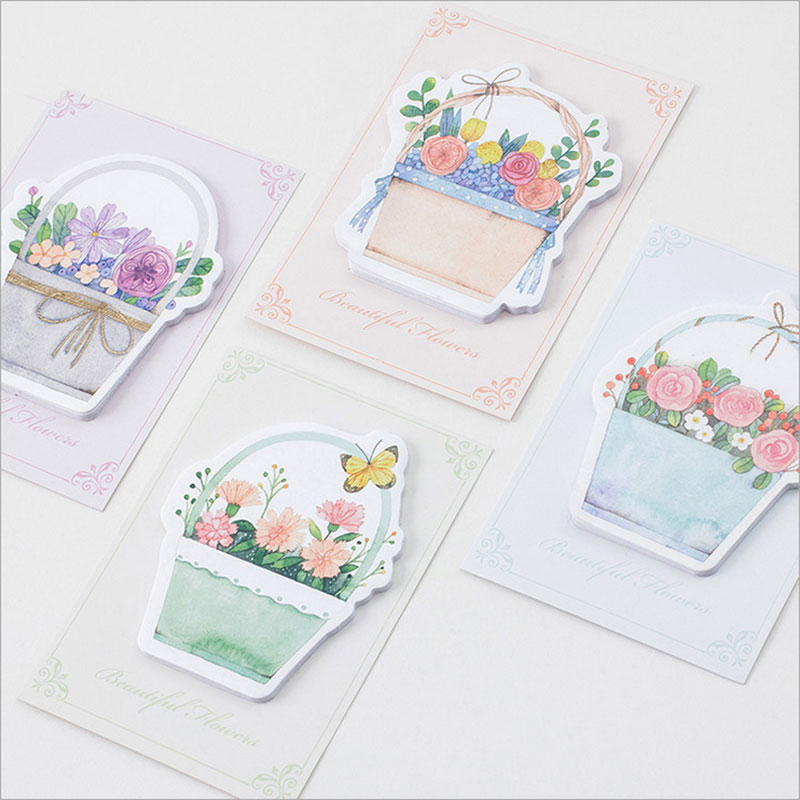1X Beautiful flower baskets weekly plan Sticky Notes Post Memo Pad kawaii Korean stationery School Supplies Planner Stickers