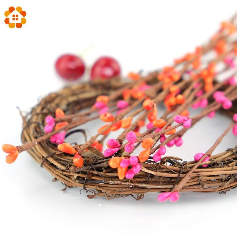 40cm Artificial Rattans Flowers Stamen Beads Branches Festival Party Home Décor