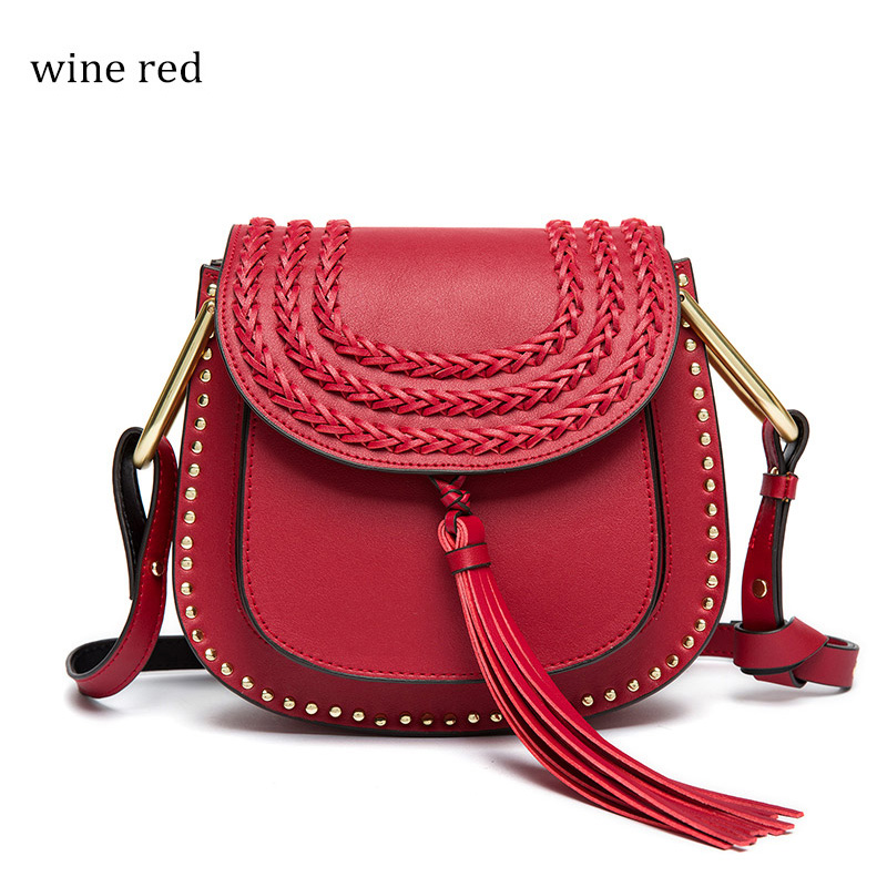 Vvmi brand 2016 women messenger handbags classic vintage tassel woven saddle weave single shoulder crossbody bags chic lady bag