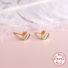 цена на Romad Cute Tiny Stud Earrings For Women Girl 925 Sterling Silver Rainbow Love Heart Earrings Small Stud Earrings Jewelry Gift W3
