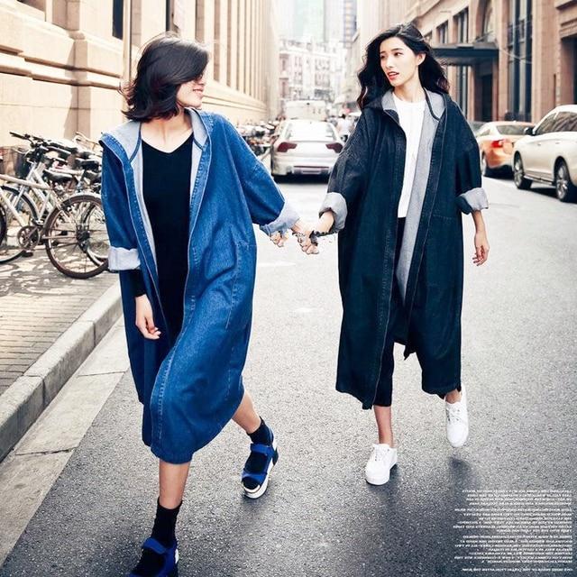 f54b0e6d9f7 2017 New Women Spring Autumn BF Style Long Hooded Denim Coats Girls Open  Stitch Plus Size
