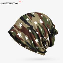 2018 nueva Otoño Invierno sombreros para hombres mujeres Thin Beanie  algodón camuflaje estrella turbante sombrero Baggy 7db215f9104