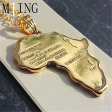 MLING 2019 New Africa Map Pendant Necklace Charm Letter Fashion Stainless Steel