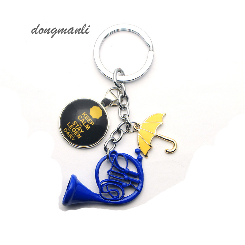 dongmanli 20pc I Your Yellow mother Blue French keychain