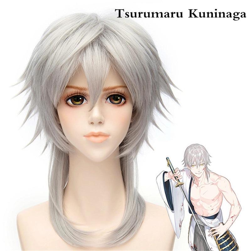 Game Touken Ranbu Online Tsurumaru Kuninaga Silver Grey Half Long Synthetic Hair Cosplay Wigs + Wig Cap