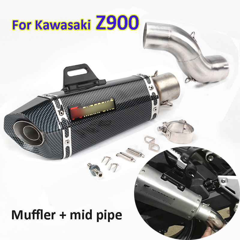 Z900 Motorcycle Exhuast Silencer Baffles Mid Link Pipe Slip on Exhaust Muffler Escape for Kawasaki