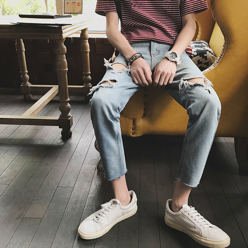 2018 Summer New Mens Solid Color Fashion Personality Loose Business Casual Harajuku Style Small Straight Hole Nine Points Jeans
