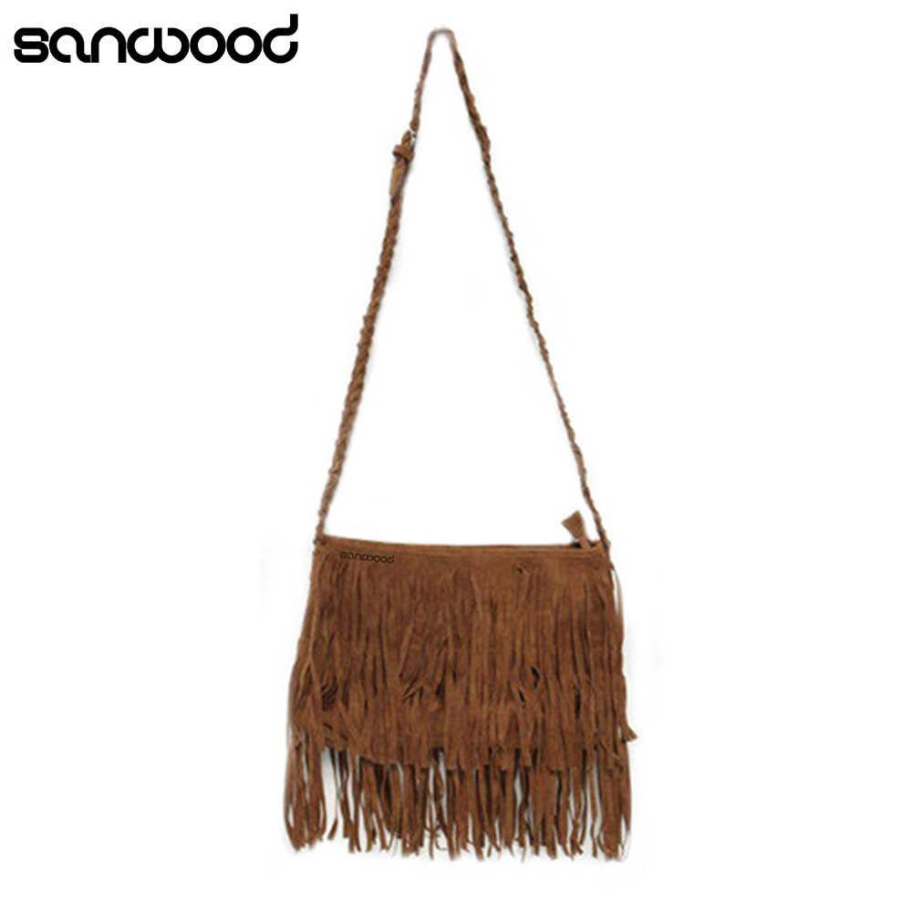 2016 Женская Замшевая сумка-мессенджер с бахромой, сумка на плечо, сумка-портфель 9IF8