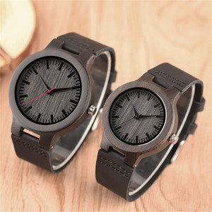 Image 3 - Minimalist Sandal Wood Watch for Couple Brand Design Black Real Leather Red/Black Second Hand Quartz Bracelet Sweetheart Gift