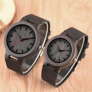 Image 3 - Minimalist sandal ağacı saat çift marka tasarım siyah gerçek deri kırmızı/siyah İkinci el kuvars bilezik sevgiliye hediye
