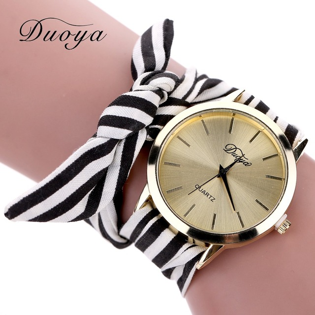Duoya Brand Watch Women 2018 Gold Striped Fabric Dress Women Summer Quartz Wrist