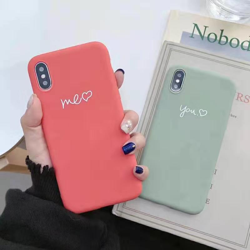 Cute Matcha green Couple Letter Me you Case For iPhone XS MAX XR X Case Soft Candy Phone Case For iPhone 7 8 6 S 6s plus cover (2)