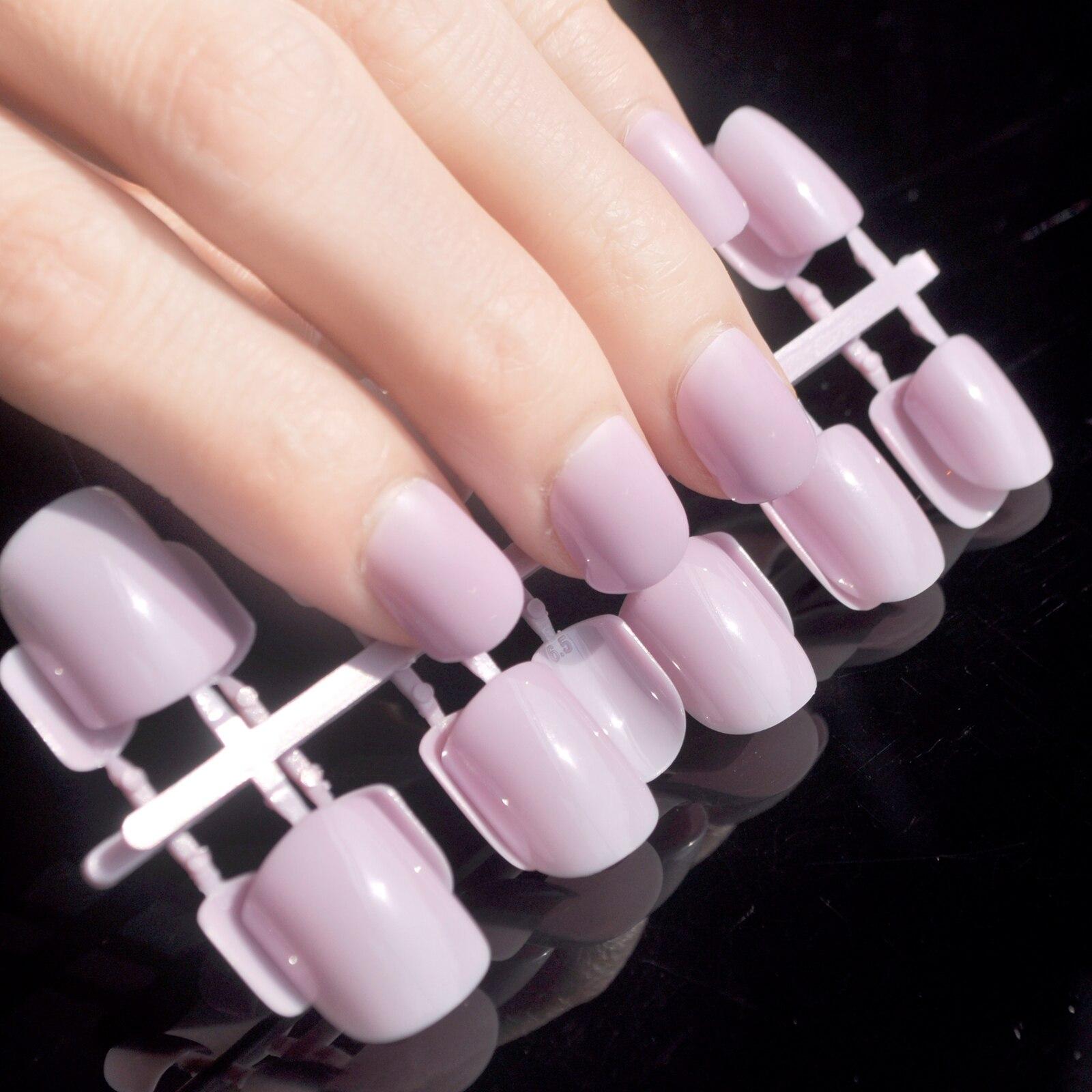 Mode Candy Farbe Flache Gefälschte Nagel Licht Lila Nägel Für Finger ...
