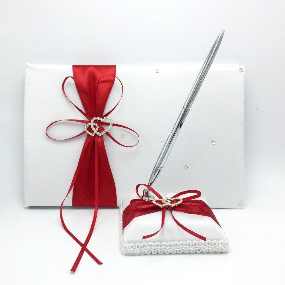 Aliexpress.com : Buy 2Pcs/set Many Colors Satin Guest Book + Pen Set ...