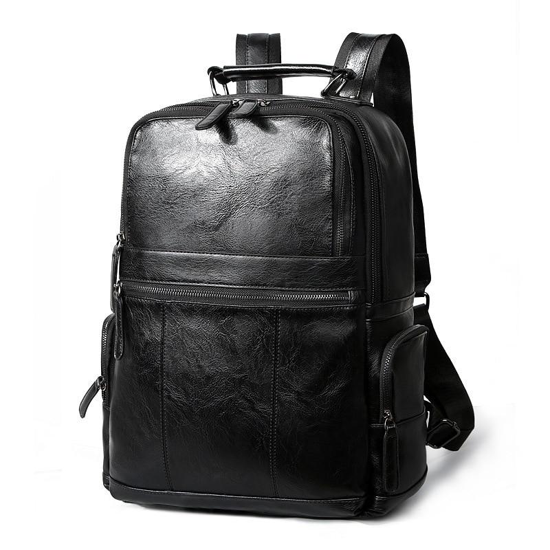 Luxury Brand Genuine Leather solid backpack Men Backpacks Korean School Mochila For Teenagers Fashion Men Leather Bagpack Black