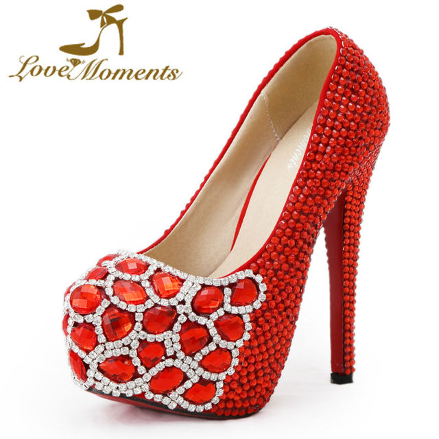 Love Moments women shoes red stone high heel shoes crystal wedding shoes  bride dress party shoes ladies heels big size 34-45 cce3ae87ca1a