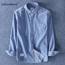 Schinteon qualidade superior 100% algodão veludo camisa mangas compridas camisa de fundo magro marca de moda S 4XL
