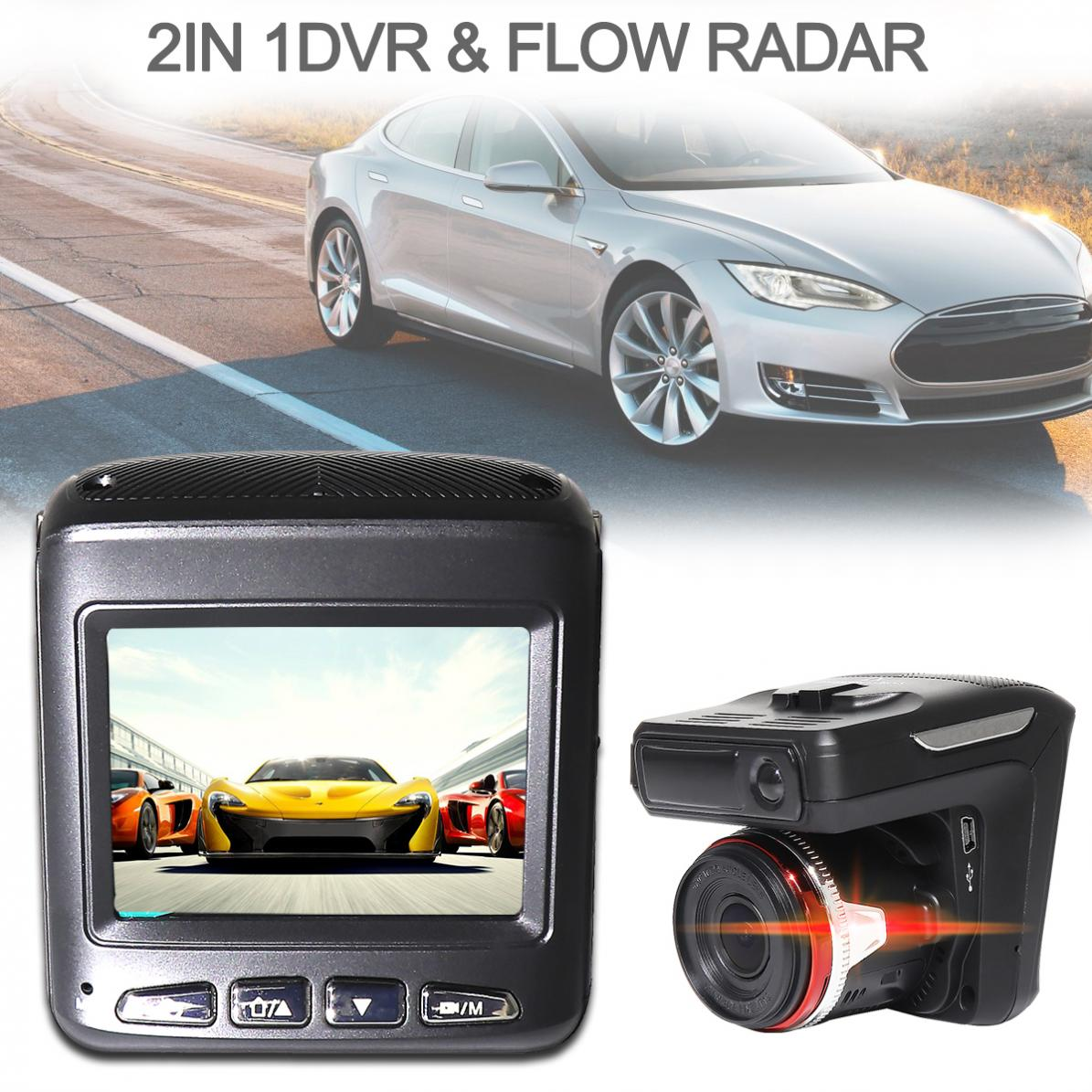 2 In 1 Car DVR Radar Detector G-senor Car-detector Camera HD 1280P <font><b>speed</b></font> camera detector Antiradar Russian/English Language image