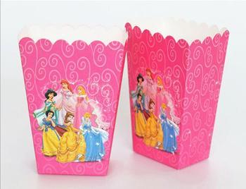 6 unids/lote caja de taza de palomitas con estampado de dibujos animados de princesa caja para dulces de fiesta de feliz cumpleaños para niños suministros de regalo