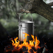 6pcs Outdoor camping portable stainless steel hanging cup Wild survival pot cooker picnic Cookware knife and fork