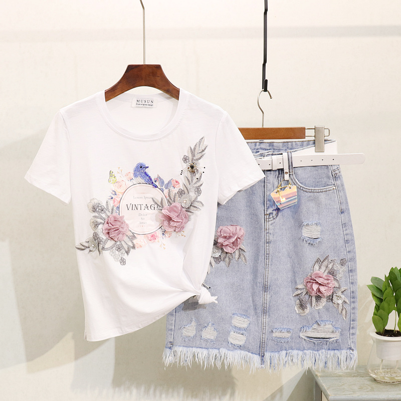 b4d6854e8 Taotrees verano Retro 3D flor bordado camiseta + Demin rodilla falda de dos  piezas falda conjunto