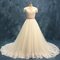 Simple Tulle Wedding Dresses Short Sleeves Off The Shoulder Bridal Gowns English Net Lace Vestido De