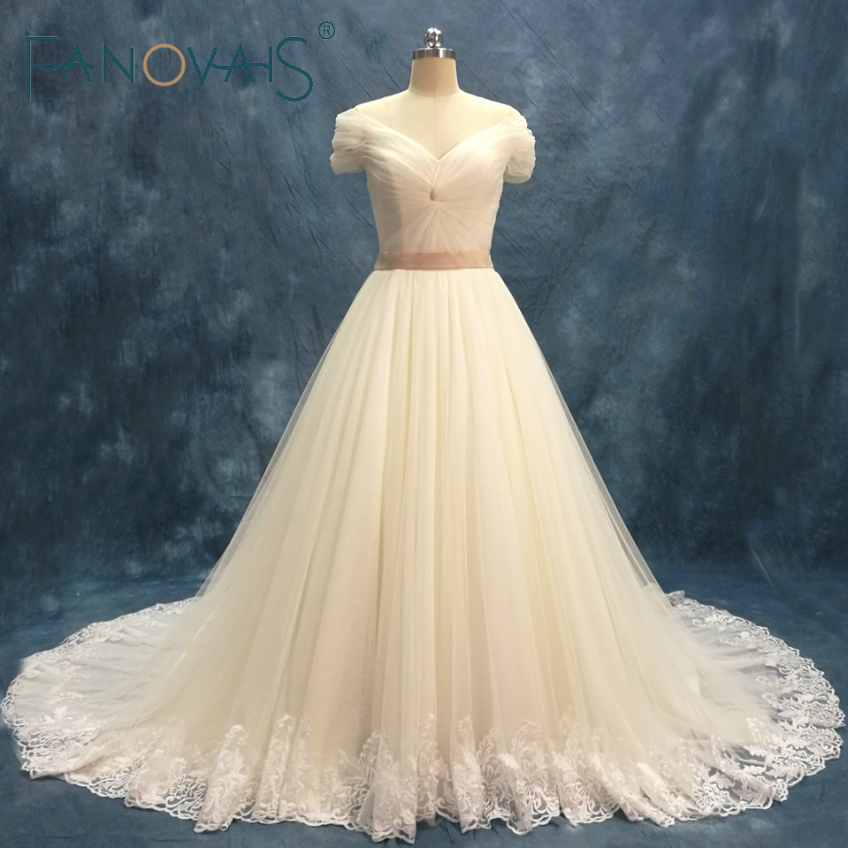 Simple Tulle Wedding Dresses Short Sleeves Off The