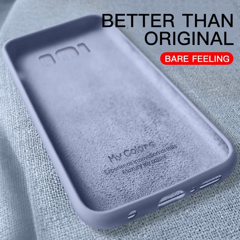 Original Liquid Silicone Case For Samsung Galaxy S8 S9 Plus S10 Lite S10E Note 8 9 10 Pro Soft Slim Full Cover Cases Coque Funda