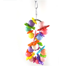 3 pcs Colorful Parrot Pet Bird Parakeet Cockatiel Cage Flower Ring Swing Hanging Bird Toys Birds Supplies Accessories Supplies