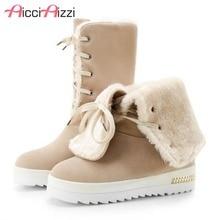 Купить с кэшбэком AicciAizzi Women Snow Boots Wedges Shoes Lace Up Winter Platform Shoes Women Warm Plush Fur Snow Waterproof Shoes Size 34-44