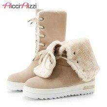 ZALAVOR Women Snow Boots Wedges Shoes Lace Up Winter Platform Warm Plush Fur Waterproof Size 34-44