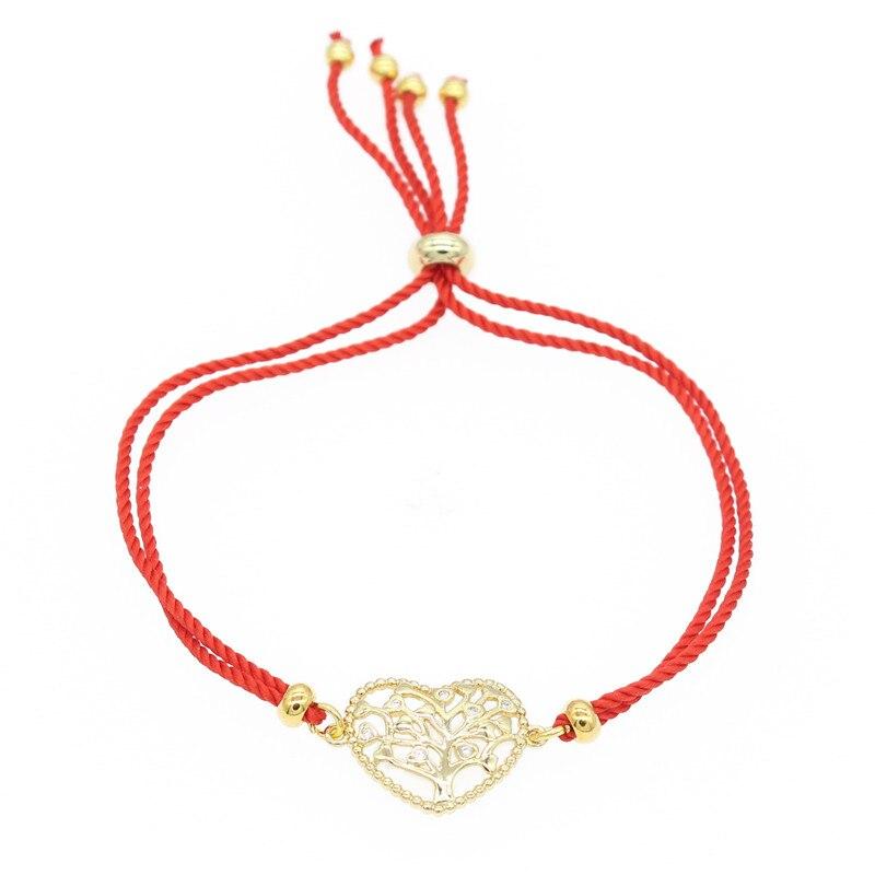 Poshfeel cubique zircone coeur Bracelet bijoux réglable chanceux rouge chaîne fil amoureux bracelets pour femme MBR190038