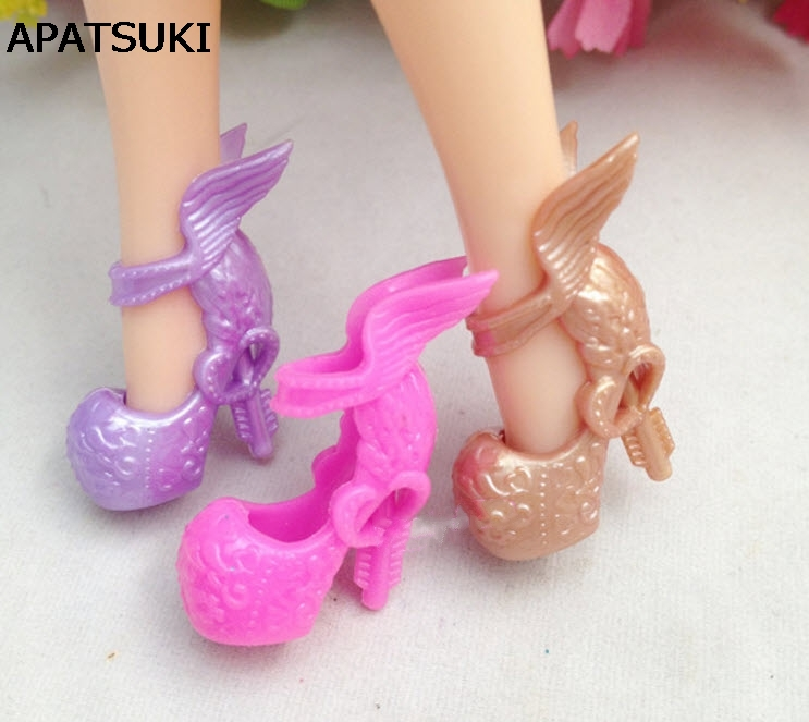 3pairs/lot Mix Colors Wing Design Shoes High Heel Shoes For Monster High Dolls Fashion Sandals For Monster Dolls