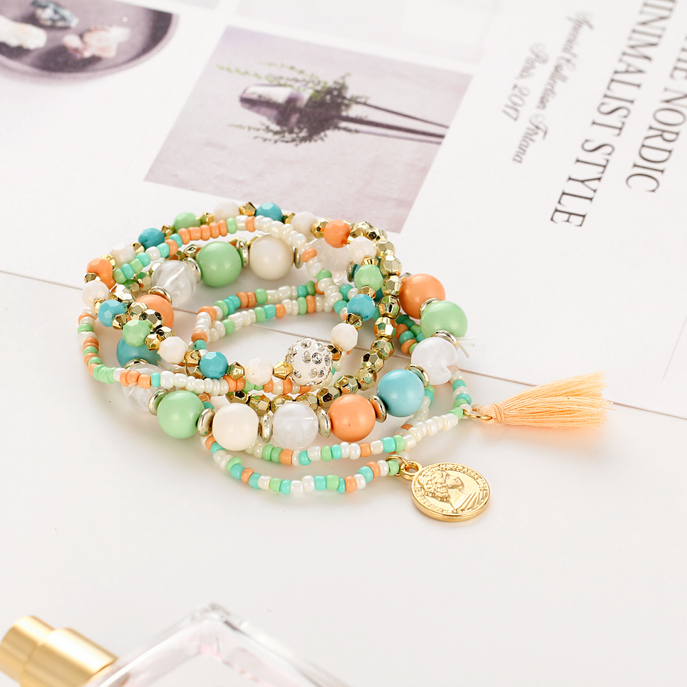 17KM Crystal Multicolor Beads Weave Tassel Bracelet Multilayer Coin Bracelets For Women 2018 New Punk Pulseira Accessories Gift 5