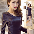 Autumn and winter tight slim hip sexy V-neck PU Dress women one-piece dress basic short Dress Fashion Short Sexy dress