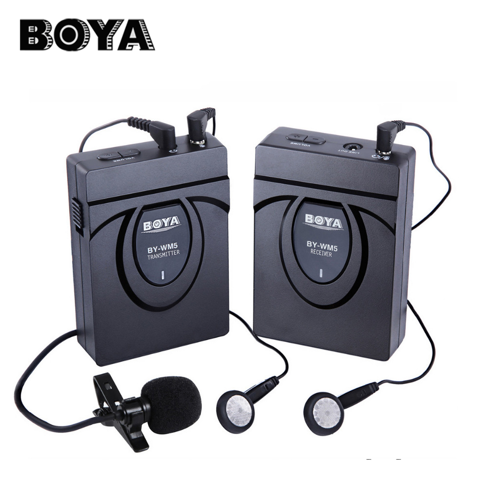 BOYA BY-WM5 Lavalier Clip-on Mic Audio Studio Recorder Wireless Microphone microfone for Canon Sony Gopro DSLR Camera Camcorder boya by wm5 dslr camera wireless lavalier microphone recorder system for canon nikon sony dslr camera camcorder audio recorder