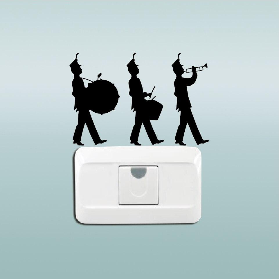 Marching Band Switch Sticker Three Musician Wall Music Stiker Lampu Kucing Gantung Aeproductgetsubject