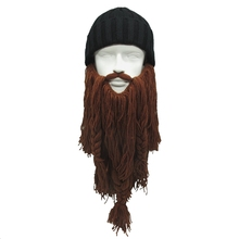New Arrive Men Winter Knitted Caps Creative Beanies Warm Viking Beanies Beard Hats Funny Party Hat Halloween Xmas Birthday Gift