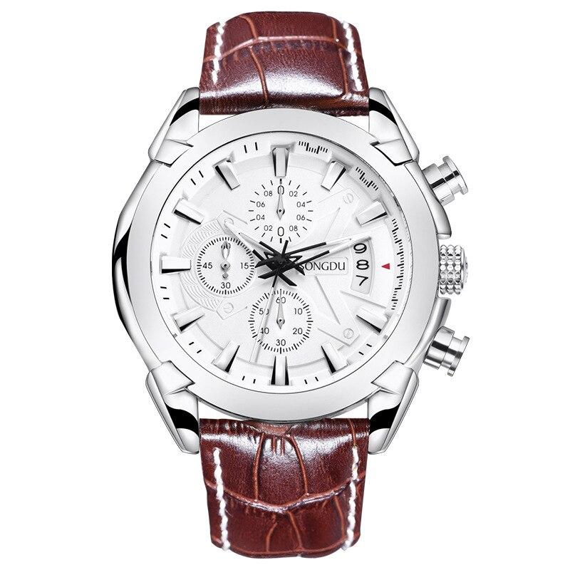 SONGDU fashion leisure luxury men watch waterproof calendar Three eyes luminous sports leather strap male watches