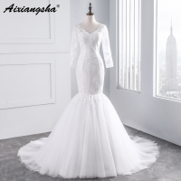 Charming Double V Neck Cap Long Sleeves Wedding Dresses 2016 White Tulle Mermaid Bridal Dress Fish
