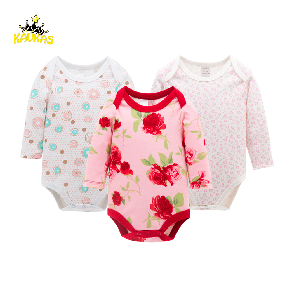 KAVKAS 3Pcs/Set Baby Girl Clothes Winter Spring Long Sleeve O-Neck Baby Jumpsuit Newborn Baby Girl Romper Clothing Body Suits