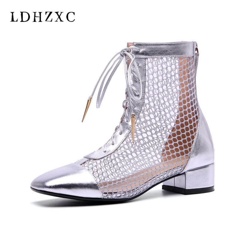 LDHZXC summer boots women Genuine leather fashion high heel knee high boots sexy zipper sandals woman square heel footwear цена