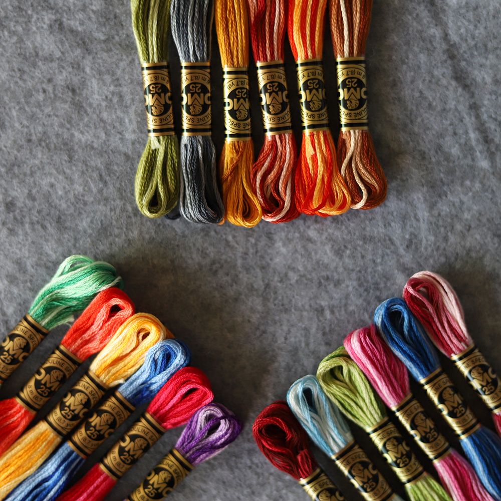 DMC 117W 6 Colors Per Set Variegated 6 Strands Thread 8 Meters Skein Color Variation Embroidery Variegated Floss Cross Stitch
