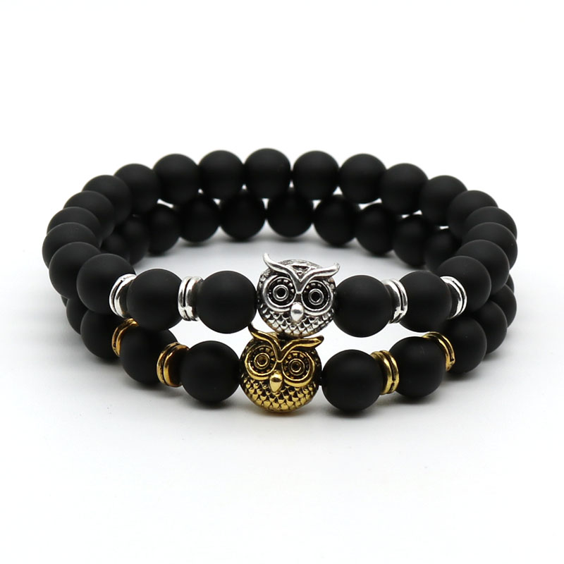 Fashion Antique Silver and Gold Plated Animal Owl Head Bracelet Men Beaded black Matte Stone Bracelets Pluseras Women AO-1