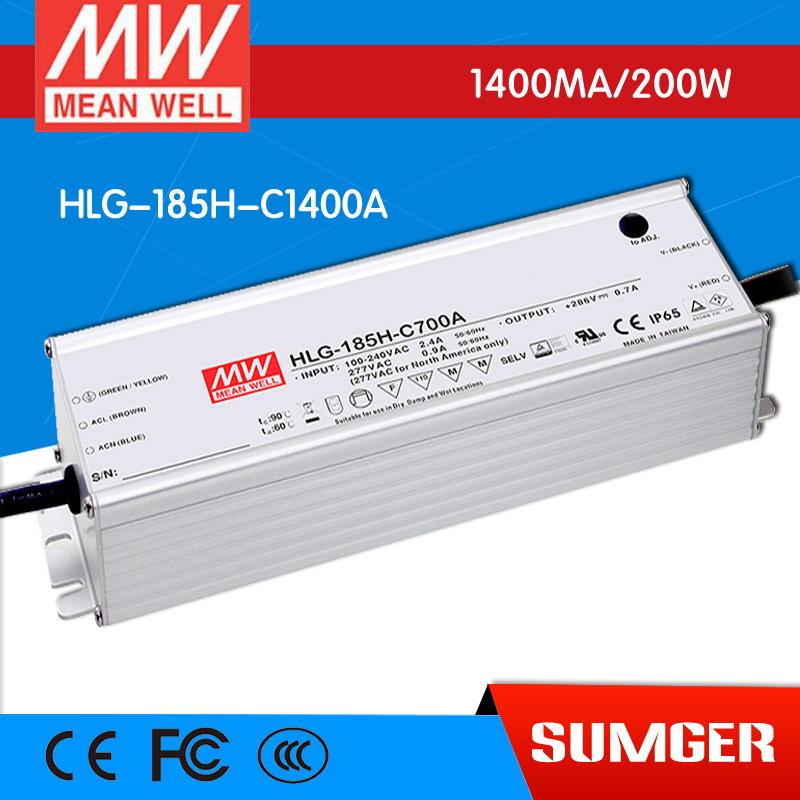 [Sumger2] MEAN WELL original HLG-185H-C1400A 71V ~ 143V 1400mA meanwell HLG-185H-C 200.2W LED Driver Power Supply A Type itap 143 2 редуктор давления