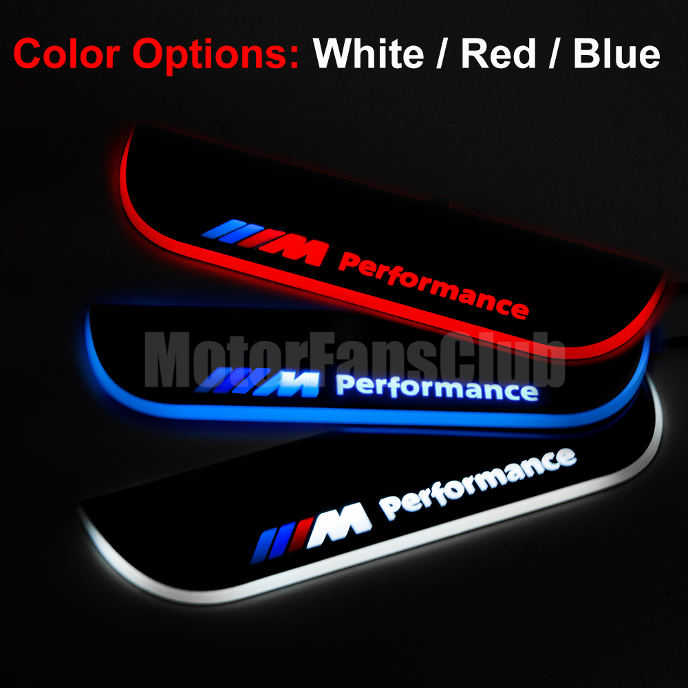 2pcs Led Moving Rear Door Sill Guards Stainless Steel