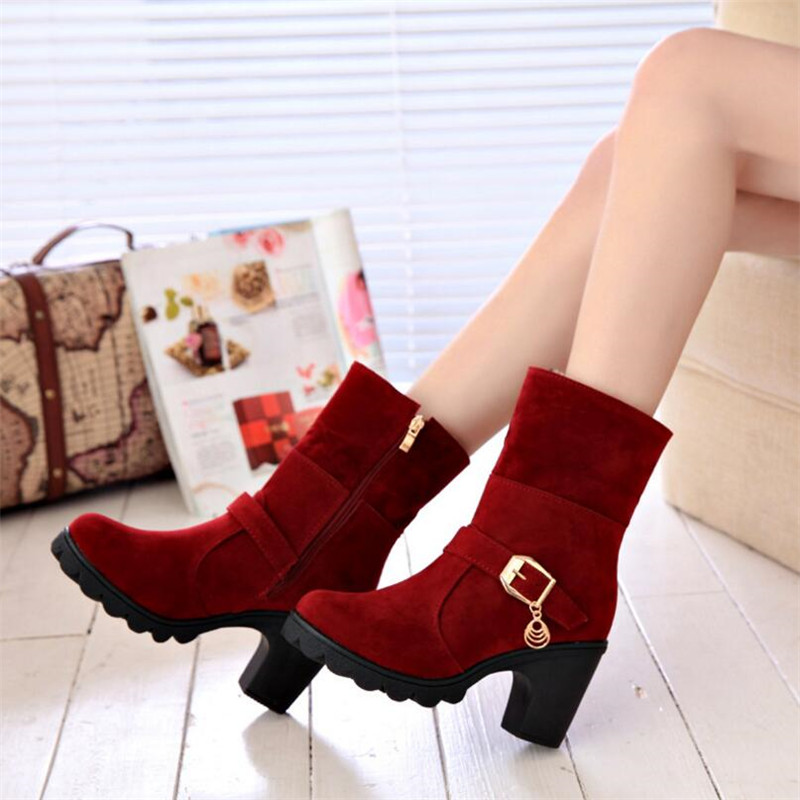 ELGEER Winter new casual fashion warm scrub side zipper women 39 s boots women 39 s boots thick with non slip mid heel boots in Ankle Boots from Shoes