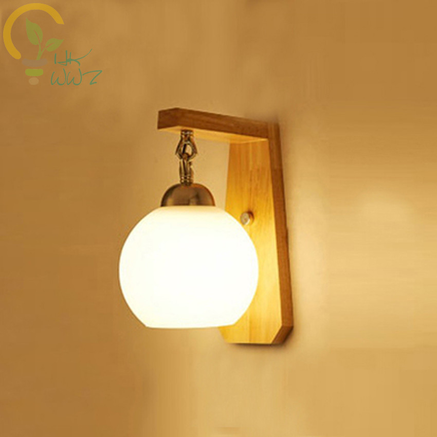 Modern Simple Glass/Rattan Lampshade Wall lamps Bedside Living Room Aisle Creative LED Solid Wood Wall LightsModern Simple Glass/Rattan Lampshade Wall lamps Bedside Living Room Aisle Creative LED Solid Wood Wall Lights