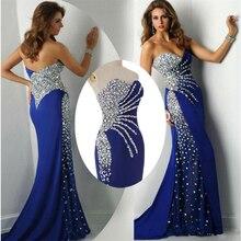 Abendkleider 2016 Schatz-gerade Kristall Royal Blue Chiffon Lange Fashion Brautkleider 2016