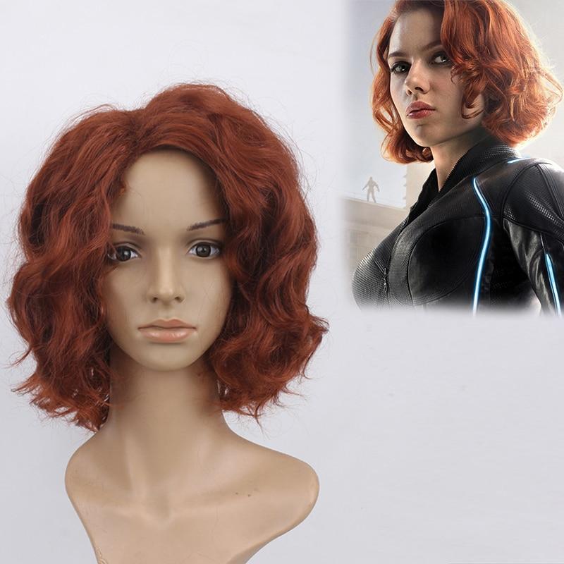 Black widow Cosplay perücke The Avengers cosplay Synthetischen braune lockige perücke für frauen kostüm Natasha Romanoff headwear